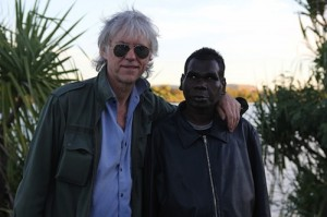 Seven Days - Socials - Kimberley Moon Experience - kununurra 250513 - Sir Bob Geldof and Geoffrey Gurrumul Yunupingu backstage before Saturday night's Kimberley Moon Experience.