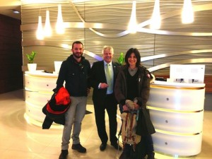 Pietro and Ilaria Torresin from Verona, Italy were the first guests to check in to Novotel Christchurch today, pictured with Novotel general manager Carl Braddock.