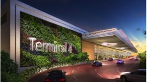 Driveway to Terminal 4 Departure Kerbside: T4 presents a new passenger travel experience through its unique terminal design and innovative use of technology.